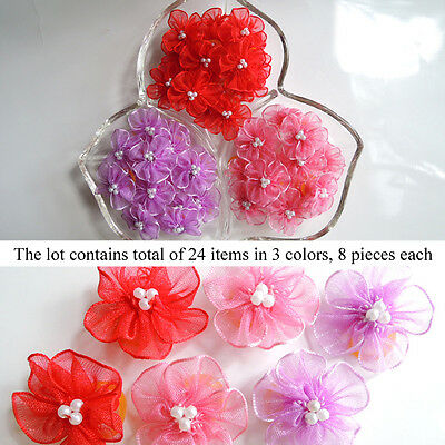 *24 PCS* Cherry Blossom Dog Hair Bow Pet Grooming Accessory 3 Colors Set #2