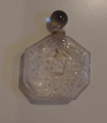 Vintage Frosted Glass Crystal French Perfume Bottle Brosseu Paris Scent France