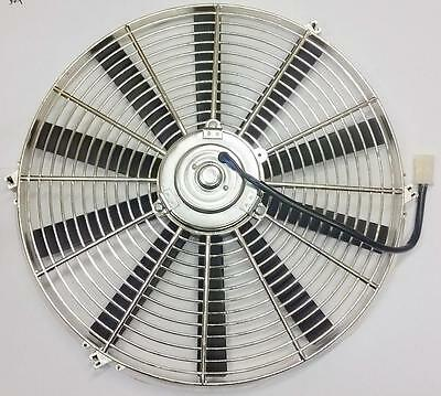 "10/"" Street Rod Radiator Electric Chrome Cooling Fan 1900 CFM Reversible S Blade"