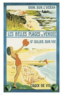 vintage travel poster VENDEE FRANCE beaches water sporty COLLECTORS 24X36