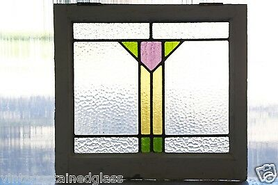 Antique Stained Glass Window Three color Purple Art Deco Tulip            (2766)