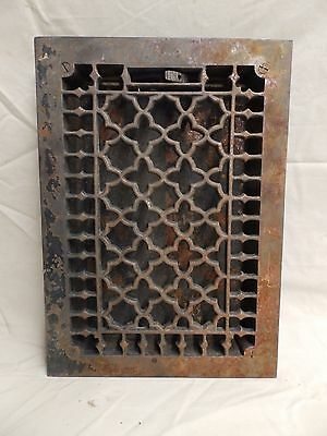 Antique Cast Iron Floor Wall Heat Grate Louvres Gothic Design Old 3809-14