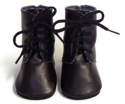 """Black Tie Boot Shoes made for 18"""" American Girl Doll Clothes"""