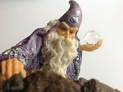Fantasy WIZARD WITH CRYSTAL BALL Figurine -Peering in to the Water - Mystical