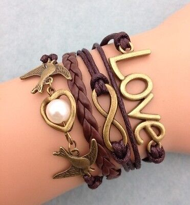 NEW Infinity Love Pigeon Heart Pearl Leather Charm Bracelet plated Copper DIY