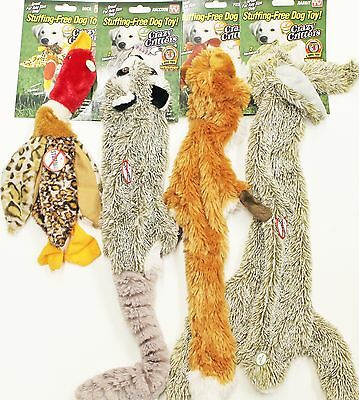4 Pack Deluxe Stuffing Free Plush Dog Puppy Toys Rabbit,Raccoon,Duck,Fox