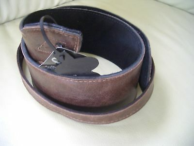 """Uk Made Brown 2.75"""" Wide Big Softee Padded Real Leather Guitar Strap"""