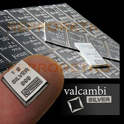 1 Gram 999.9 Pure Solid Fine Silver Bullion Valcambi Suisse Bar Super Investment