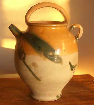 "FrenchYellow Green 12.5"" PROVENCAL CRUCHE PITCHER CONFIT POT FREE USA SHIPPING"