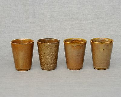 4 Vintage French Hot Wine Cup Digoin Grespots Signed