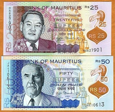 SET, Mauritius, 25;50 rupees, 2013, P-New, First POLYMER Issue, UNC