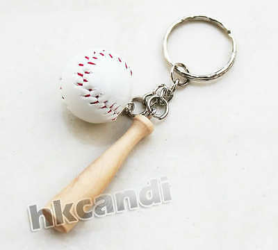 Classic 3D white baseball wood Sports Model key chain special keyring