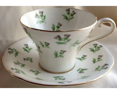 Hand Painted Aynsley Thistle Corset Waist Cup and Saucer