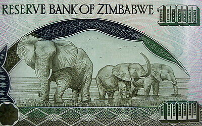 RARE 2003 ZIMBABWE 1000 DOLLAR BILL Pre-Inflation Issue Elephants on Money