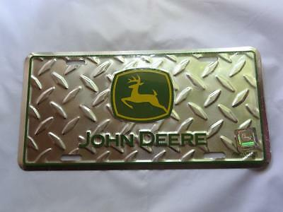 JOHN DEERE License Plate Green DIAMOND PLATE Car Tag New FREE SHIPPING