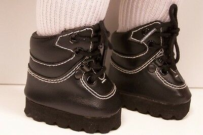 """BLACK Hiking Mountain Boots Doll Shoes For 18"""" American Girl (Debs)"""