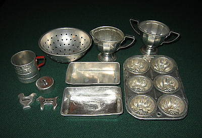 Vintage Lot of 10 Metal Toy Kitchen Pans, Utensils, etc.  1950's-All played With