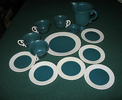 Vintage Rubberlike plastic 1950's Toy Dishes, Creamer, Cups-13 pcs-green & white
