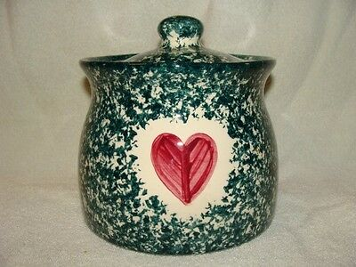 Molly Dallas Spatterware Canister Lid Green Red Heart