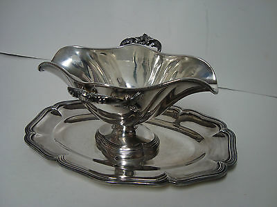 ANTIQUE  L. AUZOLLE PARIS  SILVERPLATE SAUCE BOAT w/ LINER & ATTACHED UNDERPLATE