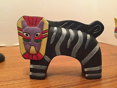Comical Cat Figurine Striped Cat Hand Painted Bisque, Colorful Face On Zebra Bod