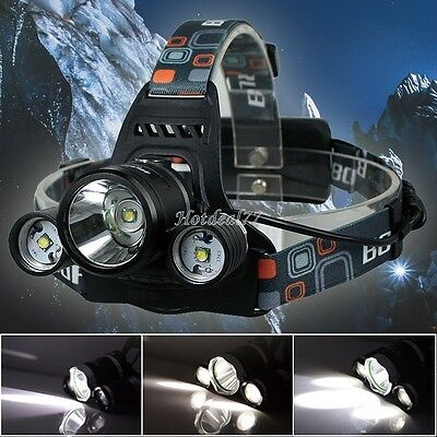5000Lm Rechargeable Lamp Adjustable Headlight Head Torches 3x CREE XM-L T6 LED