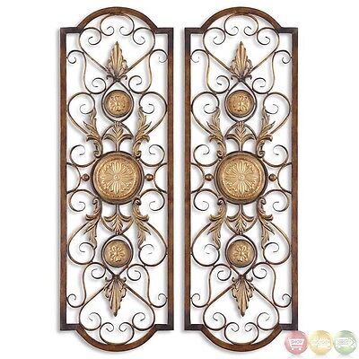 Micayla Antique Chestnut Brown Ornamental Scroll Art Panel Set of 2  13475
