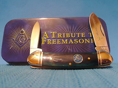 Masonic Canoe pocket knife in Free Mason Gift Tin Case Free Shipping USA