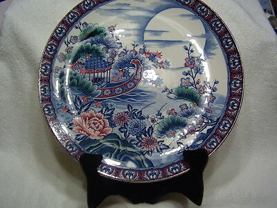 Large HND Painted Blue & White Antique Porcelain Charger Beautiful Plate