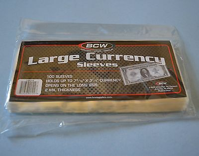 """100 BCW LARGE 2MIL CURRENCY SLEEVE """"7 9/16 X 3 1/4"""" ACID FREE POLY"""