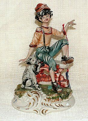Capodimonte FIGURINE Signed Meneghetti YOUNG BOY & DOG With Tag