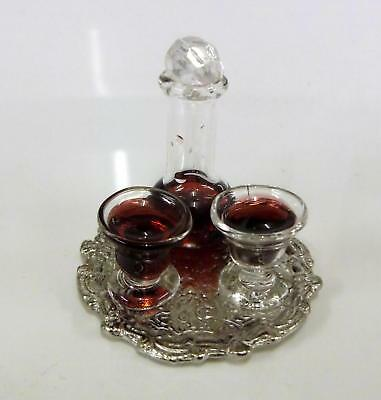 Dolls House Miniature Accessory Decanter & Glasses with Red Wine on Tray