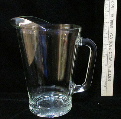 """Medium Size Heavy Clear Glass Beer Pitcher Water Juice Thick 8"""" Tall"""