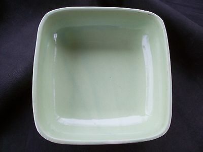 Vintage Robinson Ransbottom Pottery Green Square Ribbed Dish Bowl-USA