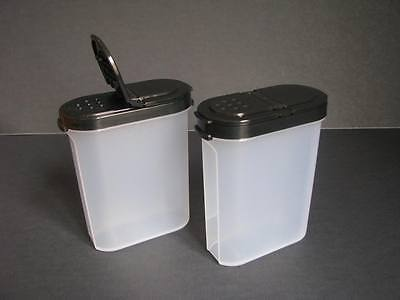 Tupperware Spice Shakers Set of 2 Large Clear Containers & Black Seals NEW