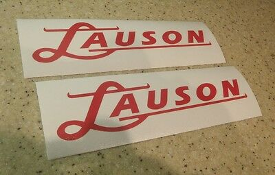 """Lauson Vintage Outboard Motor Decals RED 7"""" 2-Pak FREE SHIP + FREE Fish Decal!"""