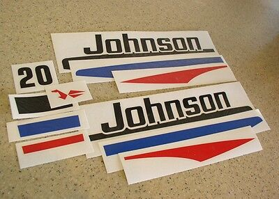 Johnson Vintage Outboard Motor Decal Kit 20 HP FREE SHIP + FREE Fish Decal!