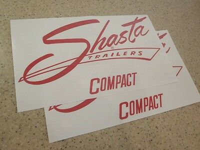 """Shasta Compact Vintage Travel Camping Trailer Decals 12"""" 2-PK  + FREE Fish Decal"""