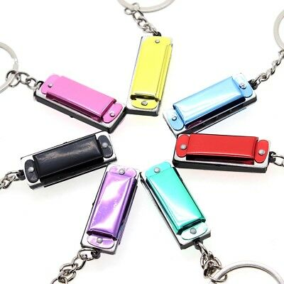 Random Mini Harmonica Keyring Music Instrument Present Gift Key Ring Loop Chain