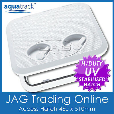 AQUATRACK WHITE ACCESS HATCH & LID 460 x 510mm - Boat/Marine/Caravan/RV/Storage