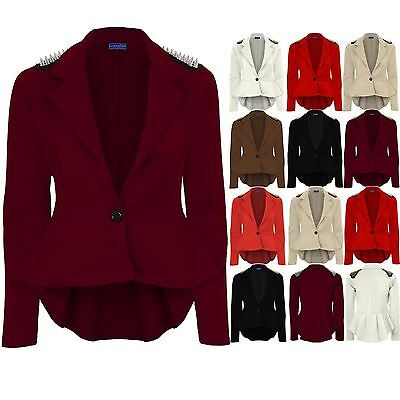 Women's High Low Spike Shoulder Shift Frill Ladies Pleated Peplum Blazer Jacket