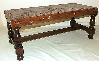 Vintage Peruvian Embossed Hand Tooled Leather Top Occasional  / Coffee Table