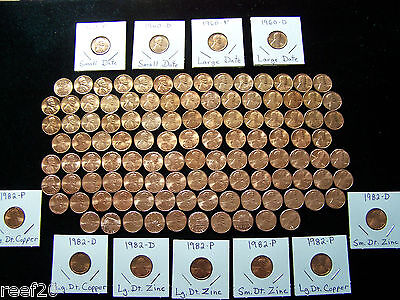 1959-2017 LINCOLN MEMORIAL BU CENT SET with all 7- 1982's & 1960 P+D Sm. Dates