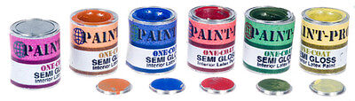 Dolls House Miniature ONE Filled Gallon Paint pot/ Lid Choice Of Colour,