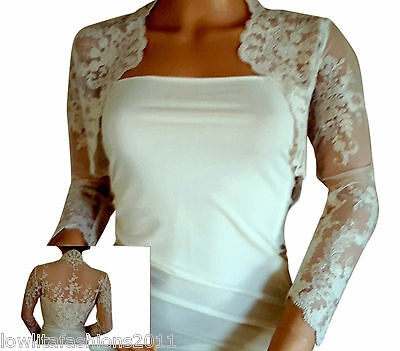 Ladies Ivory/White Lace Bridal Lace Bolero/Jacket /Shrug by Lowlita Designs