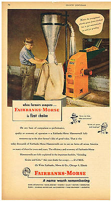 Vintage 1957 Magazine Ad Fairbanks-Morse Hammermill / Hastings Piston Rings