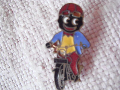 1970'S ROBERTSONS GOLLY BADGE.. MOTORCYCLIST..GOMM