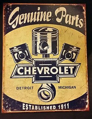 Chevy Parts Tin Sign Chevrolet Genuine Parts Wall Decor Metal Man Cave #1722