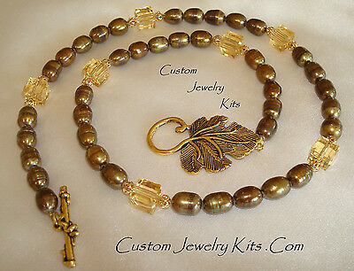 brown freshwater pearl leaf clasp adult necklace kit beads craft All incl EZ ins