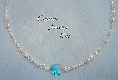 Delicate Swarovski pearl & Clear AB heart adult level necklace KIT all Inc